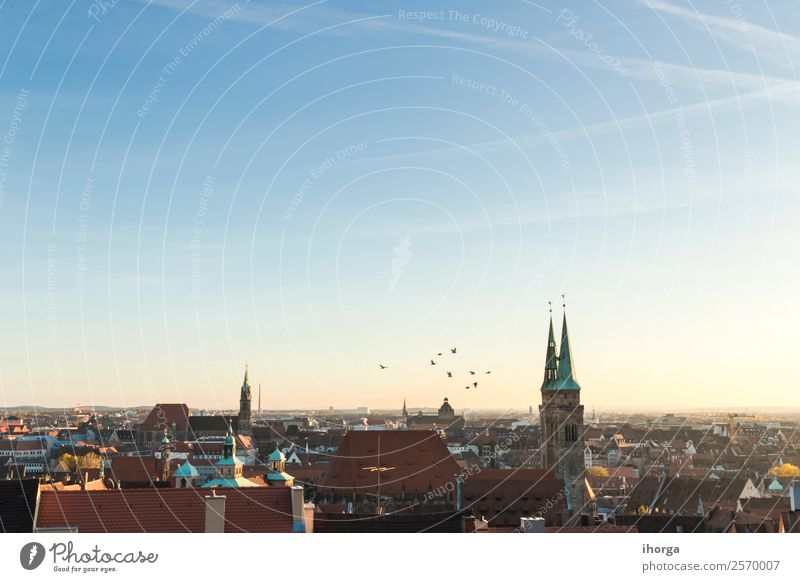 Cityscape, Roofs of Nuremberg, Bavaria, Germany, Vacation & Travel House (Residential Structure) Culture Landscape Sky Europe Small Town Old town Skyline