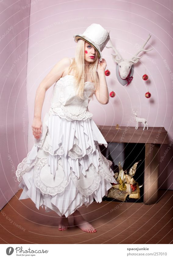 Woman Human being Christmas & Advent Youth (Young adults) White Adults Feminine Fashion Blonde Pink Crazy Exceptional Uniqueness Model Dress 18 - 30 years