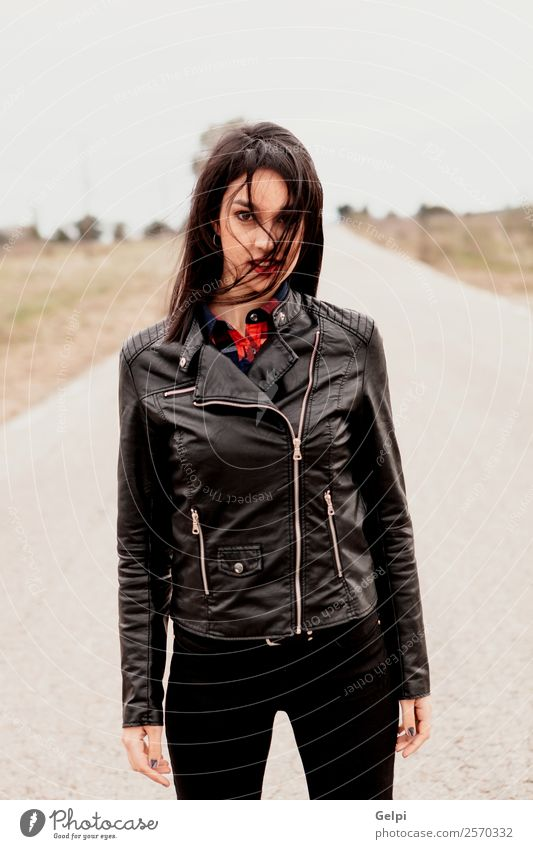 Girl Lifestyle Style Beautiful Vacation & Travel Freedom Human being Woman Adults Nature Wind Street Lanes & trails Fashion Jacket Leather Brunette Going