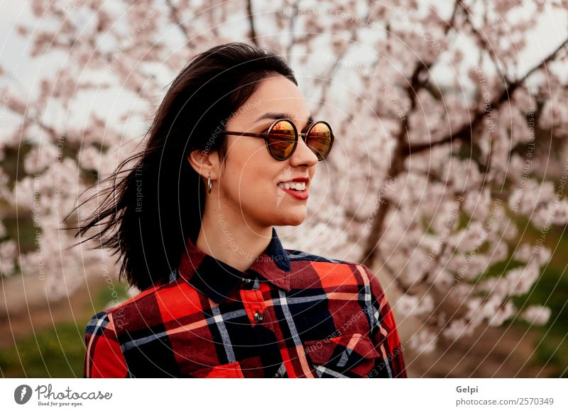 Girl Style Happy Beautiful Face Garden Human being Woman Adults Nature Tree Flower Blossom Park Fashion Sunglasses Brunette Smiling Happiness Fresh Long Natural