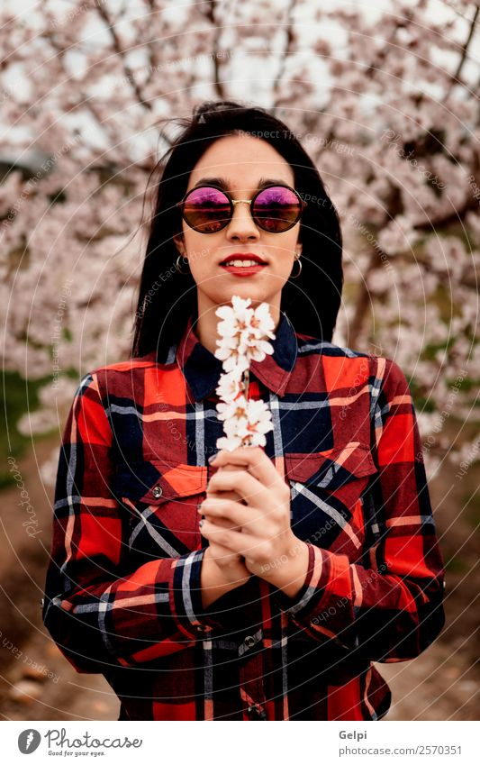 Girl Style Happy Beautiful Face Garden Human being Woman Adults Nature Tree Flower Blossom Park Fashion Dress Sunglasses Brunette Smiling Happiness Fresh Long