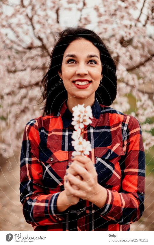 Girl Style Happy Beautiful Face Garden Human being Woman Adults Nature Tree Flower Blossom Park Fashion Brunette Smiling Happiness Fresh Natural Pink Red White