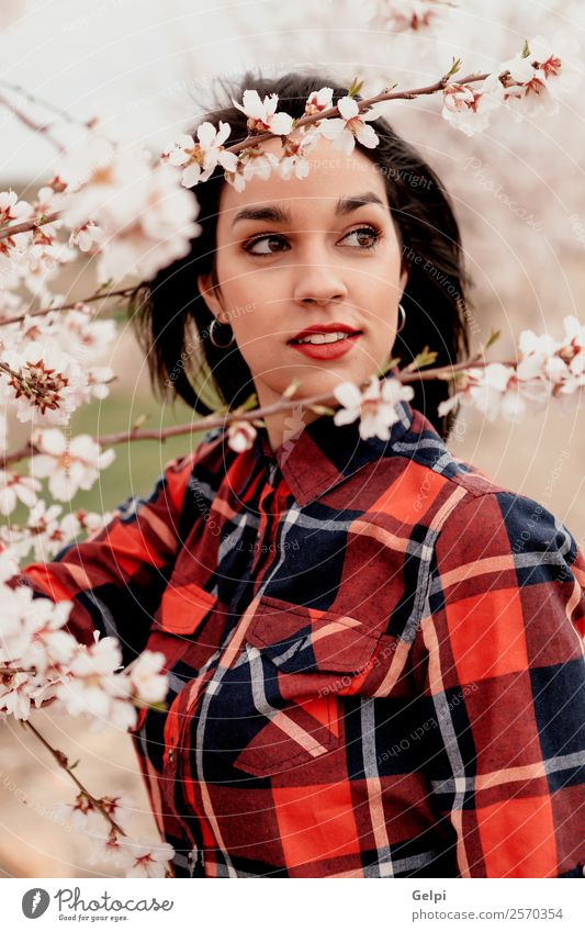 Girl Style Happy Beautiful Face Garden Human being Woman Adults Nature Tree Flower Blossom Park Fashion Brunette Smiling Happiness Fresh Long Natural Pink Red