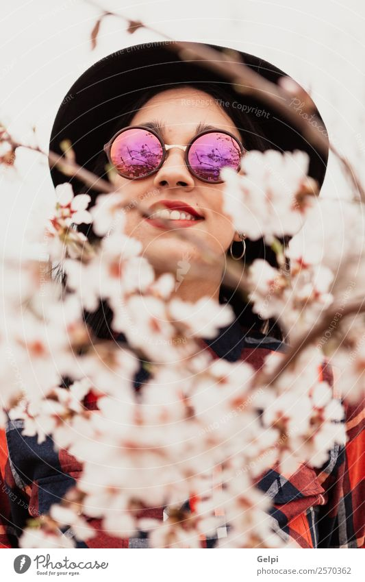 Girl Style Happy Beautiful Face Garden Human being Woman Adults Nature Tree Flower Blossom Park Fashion Sunglasses Hat Brunette Smiling Happiness Fresh Long