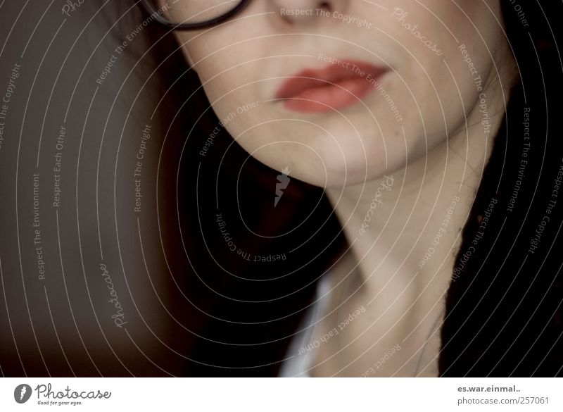 Woman Beautiful Feminine Think Mouth Success Eyeglasses Communicate Lips Section of image Smart Partially visible Lipstick Person wearing glasses Erudite
