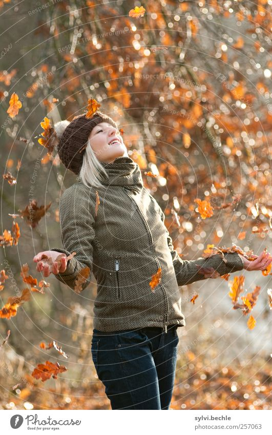 Human being Nature Youth (Young adults) Tree Joy Leaf Adults Forest Autumn Feminine Life Cold Environment Happy Weather