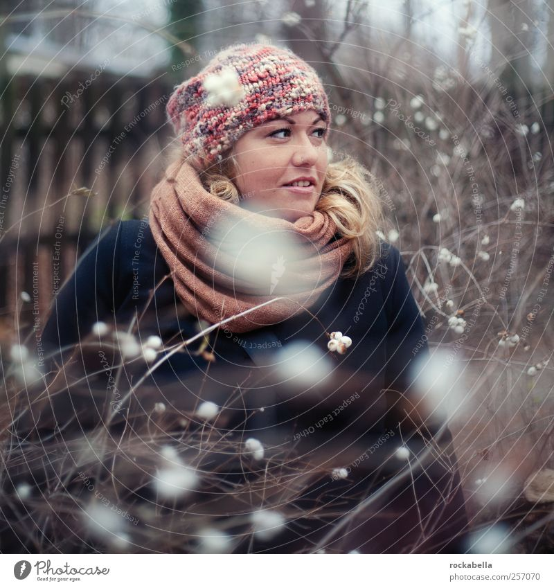 Winter fairy tale. Feminine Young woman Youth (Young adults) 1 Human being 18 - 30 years Adults Fashion Clothing Cap Blonde Curl Esthetic Beautiful Uniqueness