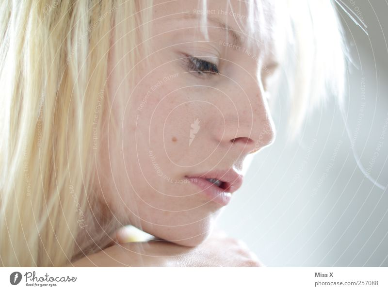 light blonde Beautiful Hair and hairstyles Human being Feminine Young woman Youth (Young adults) Face 1 18 - 30 years Adults Blonde Moody Sadness Lovesickness
