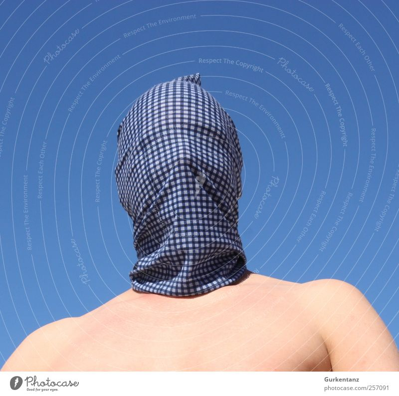 Human being Sky Man Blue Adults Masculine Cloth Mask Chest Carnival Checkered Helmet Thief Blind Packaged Headscarf