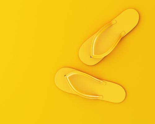 3d flip flops on yellow background. Summer concept Design Joy Relaxation Leisure and hobbies Vacation & Travel Beach Feet Fashion Clothing Footwear Flip-flops