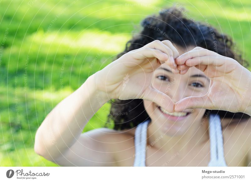 Close up focus woman hands show love symbol Lifestyle Joy Relaxation Freedom Summer Sun Garden Feasts & Celebrations Woman Adults Hand Fingers Nature Sky Tree