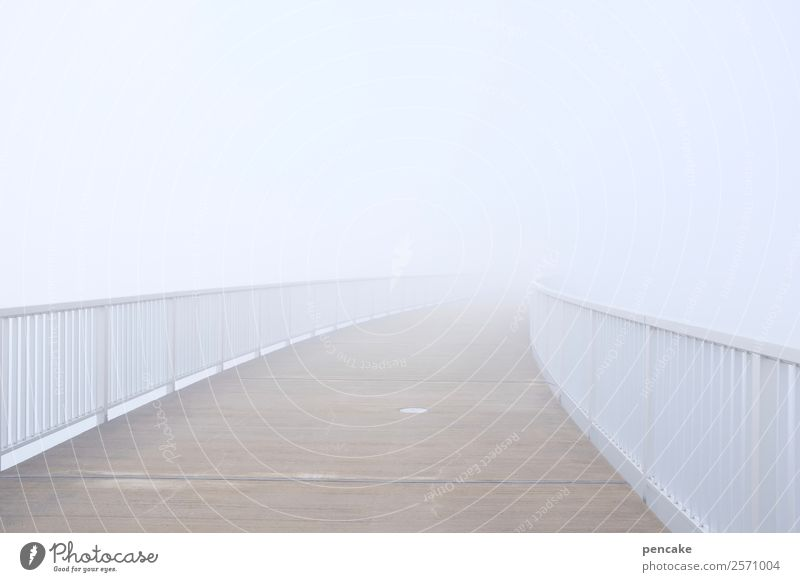 Crossing the border | beyond Autumn Climate Weather Fog White Bridge Bridge railing Border crossing Ambiguous Uncertain future Blind Heaven Retaining wall