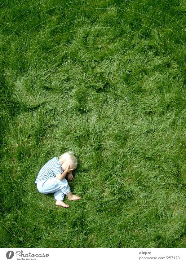 Human being Child Green Boy (child) Grass Moody Infancy Body Blonde Natural Masculine Lie Cute Point Grass surface Toddler
