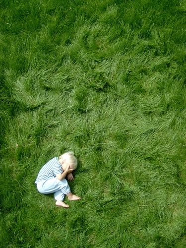 punktum Human being Masculine Child Toddler Boy (child) Infancy Body 1 3 - 8 years Blonde Natural Cute Green Moody Point Lie Grass Barefoot Grass surface