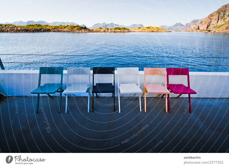Six chairs in Henningsvær Arctic Ocean Europe Rock Vacation & Travel Fjord Sky Heaven Horizon Island Landscape Maritime Nature Nordic Norway Travel photography