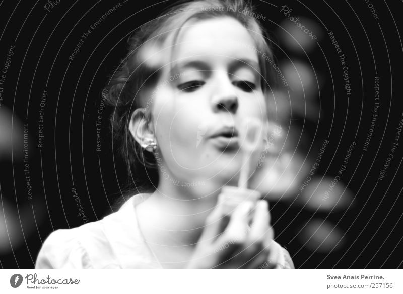 ... Feminine Face 1 Human being 18 - 30 years Youth (Young adults) Adults Braids Chignon Earring Soap bubble Dream Hope Breath Black & white photo Exterior shot