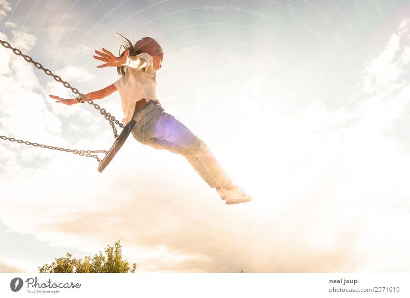 Flying high -I- Children's game To swing Feminine Girl Infancy 1 Human being 8 - 13 years Sky Summer Swing Playing Jump Free Happiness Bright Positive Athletic