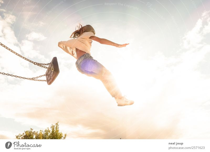 Child jumps off swing Children's game To swing Optimism Brave Positive Feminine girl Infancy 3 - 8 years Sky Summer Swing Flying Playing Jump Free Happiness
