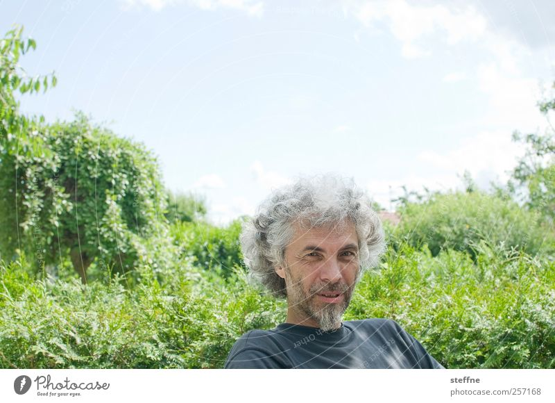 Human being Sky Man Adults Relaxation Garden Park Masculine Beautiful weather 45 - 60 years Father