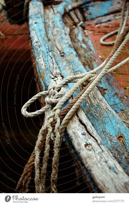 and there are always the traces of your life, Watercraft Rope Knot Wood Old Broken Trashy Blue Brown Grief Death Fatigue Homesickness Loneliness Exhaustion Past