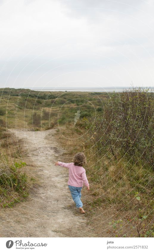 my way Toddler Girl 1 - 3 years 3 - 8 years Child Infancy Nature Landscape Horizon Summer Meadow Mountain North Sea Ocean Discover Going Infinity Maritime Cute