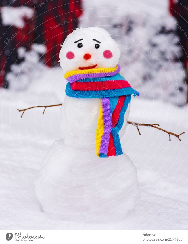 snowman with a colorful scarf Joy Winter Snow Nature Scarf Smiling Stand Happiness Small Cute Multicoloured White Vacation & Travel Tradition Snowman background