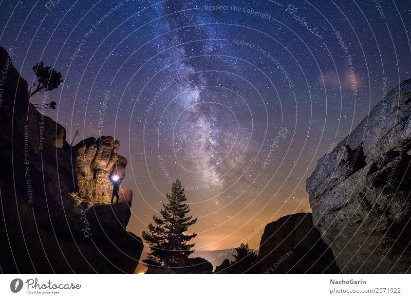 Illuminated by the milky way Environment Nature Landscape Earth Sky Sky only Night sky Stars Horizon Tree Rock Blue Orange Milky way Universe Galaxy Astronomy