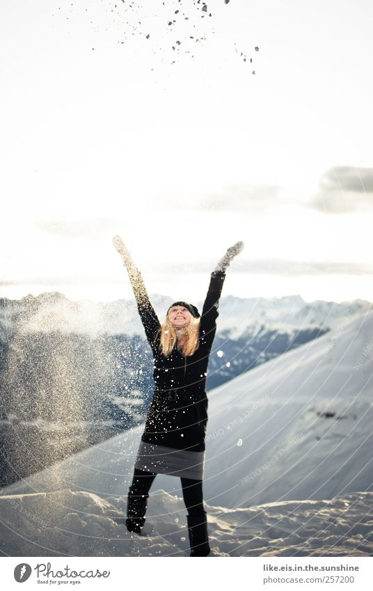 Human being Woman Youth (Young adults) Vacation & Travel Joy Winter Adults Feminine Mountain Life Snow Playing Freedom Happy Young woman Body