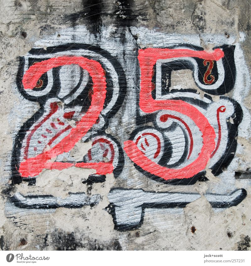"""25"" Old Red Life Wall (building) Graffiti Wall (barrier) Gray Stone Art Arrangement Elegant Happiness Esthetic Sign Change Digits and numbers"