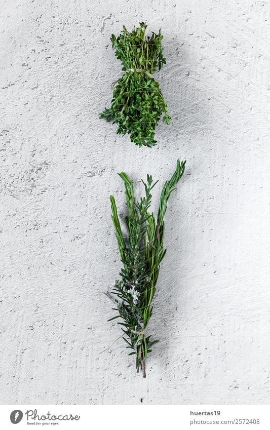 Aromatic herbs. Flat lay. Food Vegetable Herbs and spices Garden Art Plant Fresh Natural Above Sour Green aromatics flat lay Parsley Rosemary thyme Mint laurel
