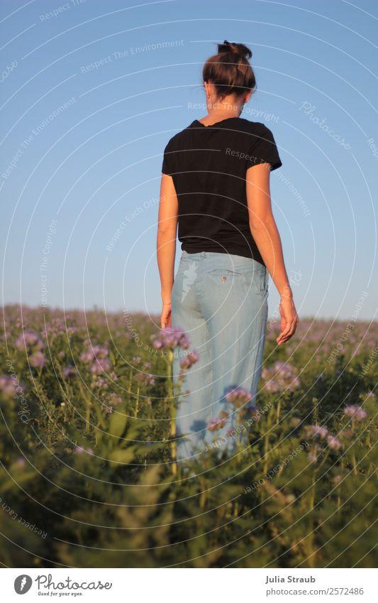 woman flower field sky Feminine Woman Adults 1 Human being 30 - 45 years Sky Cloudless sky Sunlight Summer Beautiful weather Flower Grass Meadow Field T-shirt