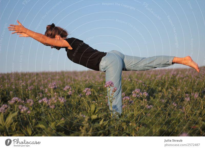 Warrior 3 woman flowers yoga Fitness Sports Training Sportsperson Yoga Feminine Woman Adults 1 Human being 30 - 45 years Nature Sunlight Summer Flower Grass