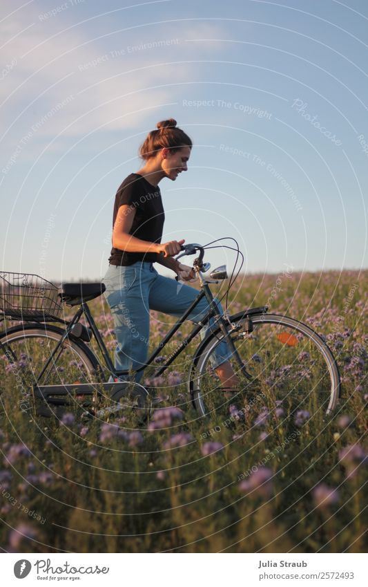 Bicycle tour woman flowers Cycling Feminine Woman Adults 1 Human being 30 - 45 years Nature Sunlight Summer Beautiful weather Flower Grass Meadow Field Walking