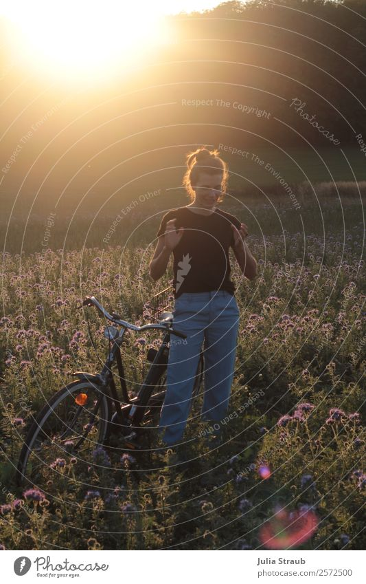 to tell stand woman bicycle Cycling Bicycle Feminine Woman Adults 1 Human being 30 - 45 years Nature Sunrise Sunset Sunlight Summer Beautiful weather Flower