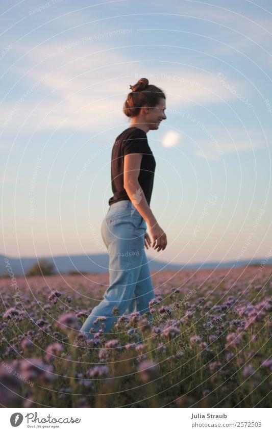 flower meadow woman beautiful sky Sky Clouds Sunrise Sunset Summer Beautiful weather Plant Flower Grass Meadow Field T-shirt Jeans Brunette Long-haired Braids