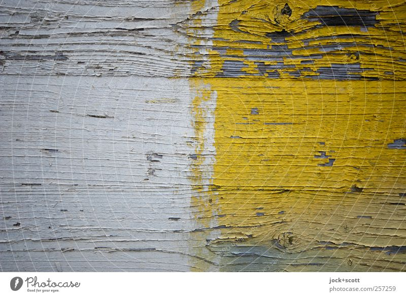 Between the years Decoration Wood Stripe Simple Yellow White Flaked off Side by side Cover Street art Wood grain Varnish Weathered Surface structure