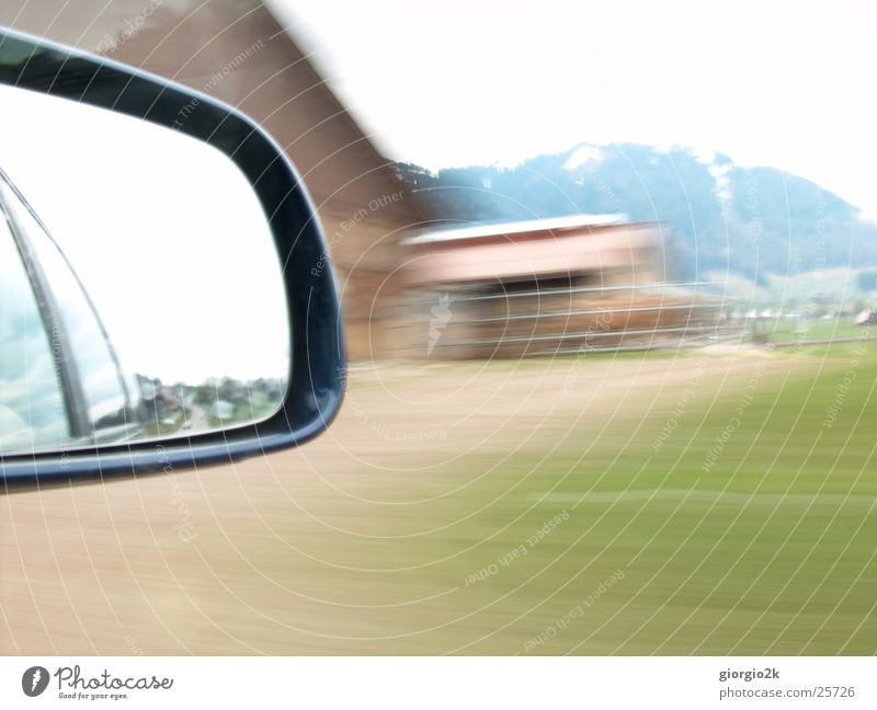 Meadow Car Transport Speed Switzerland Farm Mobility In transit Rear view mirror