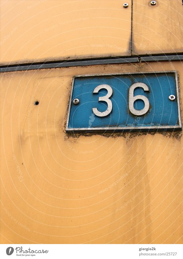 Old Blue Wall (building) Orange Factory Digits and numbers 36