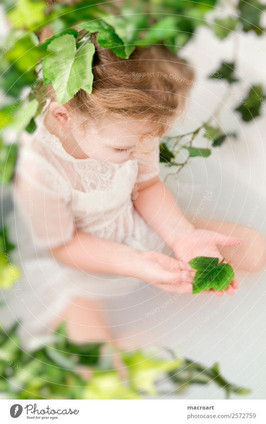 milk bath shooting Bathtub when shooting Ivy Leaf Toddler Girl fairylike Child Feminine lace dress Dress Tendril Green Plant Photo shoot