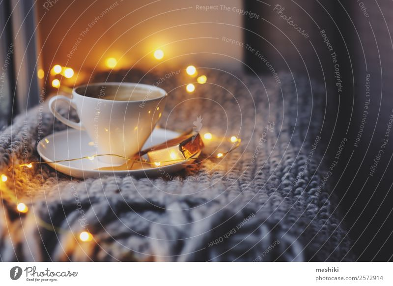 cozy winter or autumn morning at home Breakfast Coffee Spoon Lifestyle Relaxation Winter Newspaper Magazine Autumn Weather Candle Metal Hot Modern Inspiration