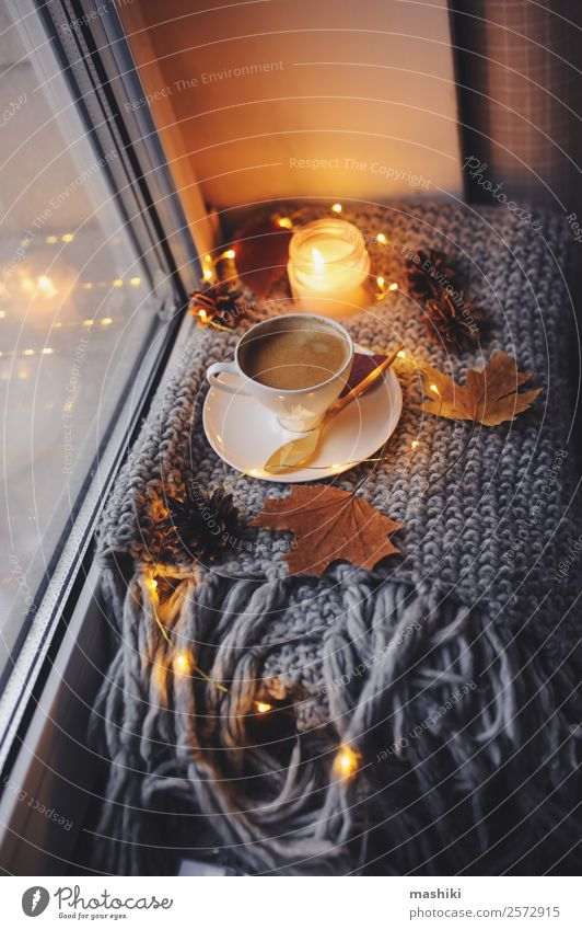 cozy winter or autumn morning at home Breakfast Coffee Spoon Lifestyle Style Relaxation Knit Winter Table Kitchen Newspaper Magazine Autumn Weather Warmth