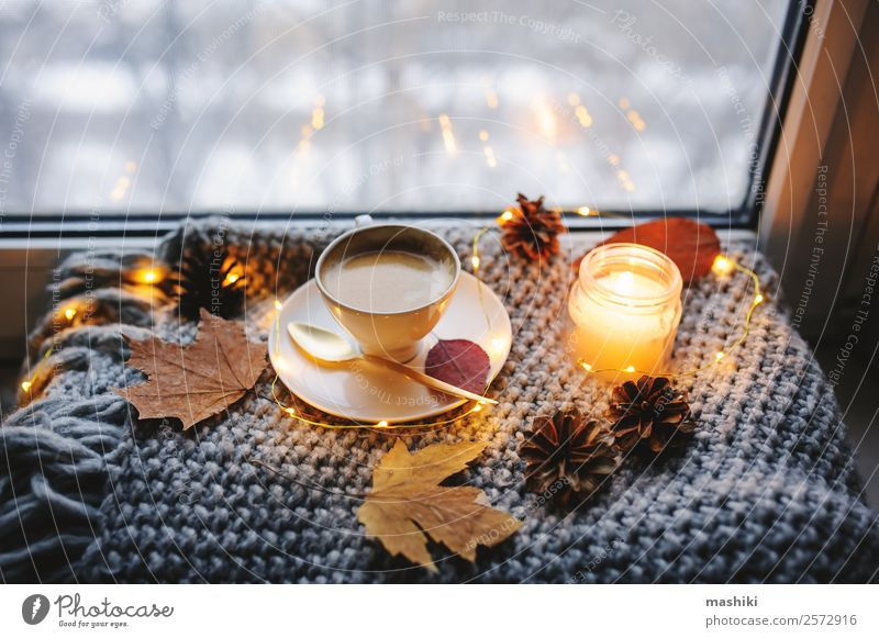 cozy winter or autumn morning at home Breakfast Coffee Lifestyle Relaxation Winter Table Kitchen Newspaper Magazine Autumn Weather Warmth Candle Metal Hot