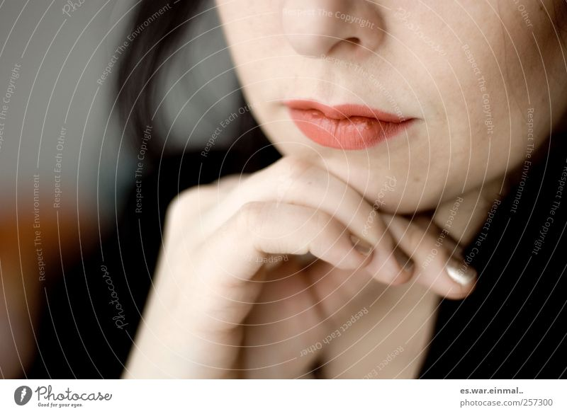 Woman Beautiful Feminine Think Dream Meditative Lips Partially visible Section of image Lipstick Wearing makeup Philosopher Detail of face Woman`s mouth