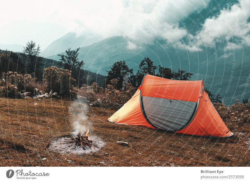Camping in the mountains Lifestyle Leisure and hobbies Vacation & Travel Tourism Trip Adventure Expedition Summer Mountain Nature Landscape Fire Hill Relaxation