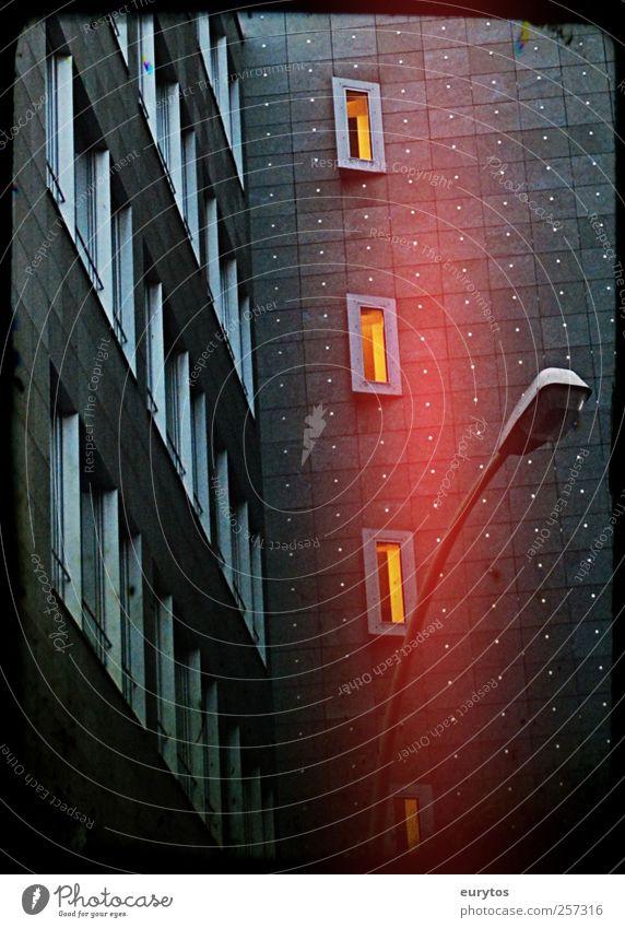118# Town Downtown High-rise Building Facade Dark Stagnating Street lighting Colour photo Exterior shot Lomography Holga Artificial light