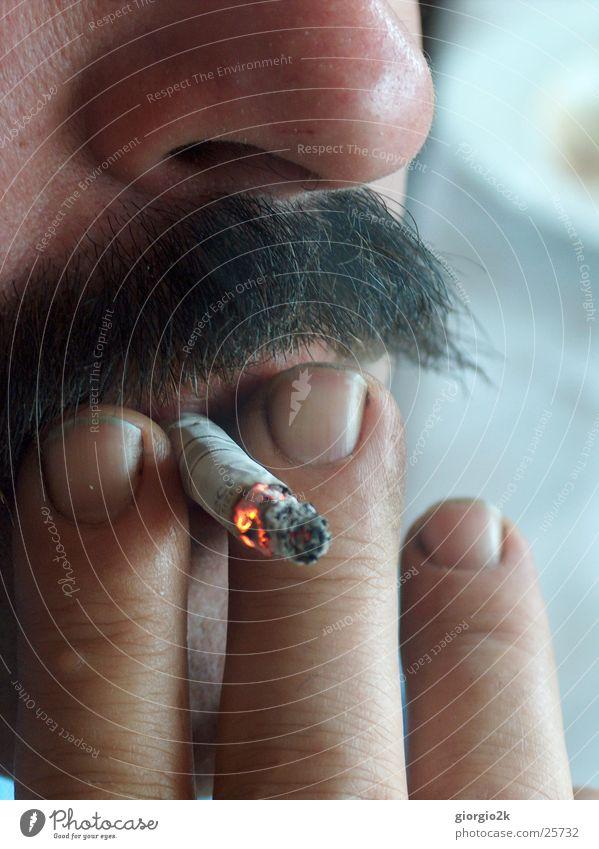 smoke Man Masculine Cigarette Unhealthy Moustache Facial hair Fingers Smoke Smoking Nose