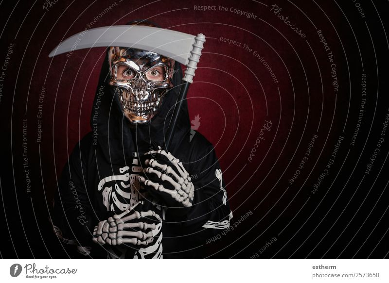 boy in skeleton costume on halloween Child Human being Dark Lifestyle Autumn Emotions Movement Feasts & Celebrations Party Death Fear Masculine Infancy