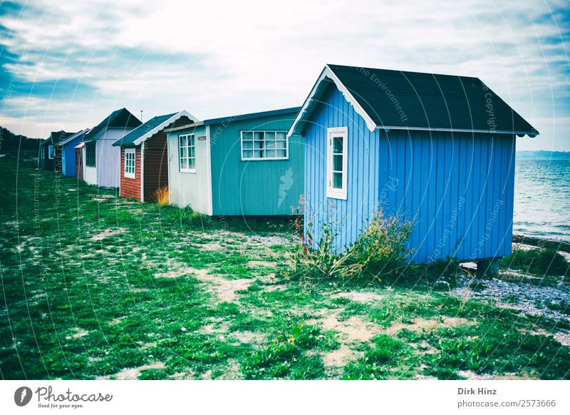 Beach houses on the Danish island of Ærø Vacation & Travel Tourism Trip Far-off places Freedom Summer vacation Sun Ocean Island Nature Landscape Clouds Coast
