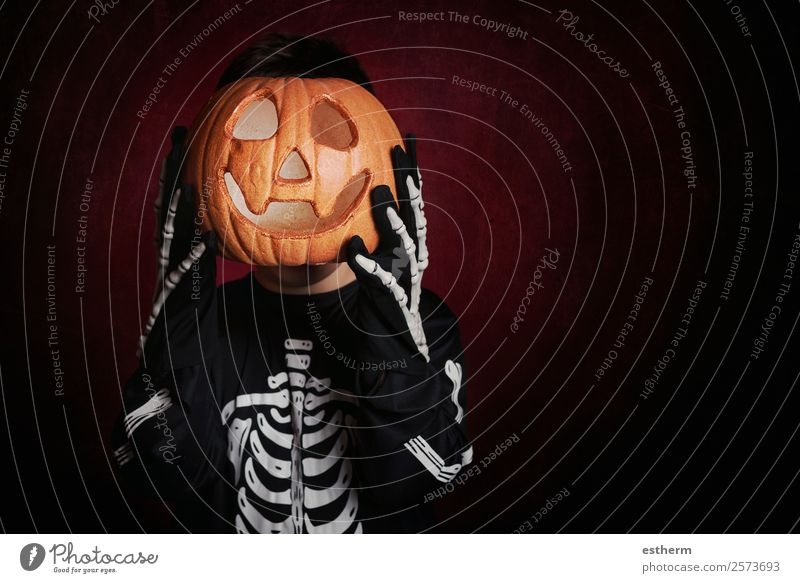 boy in skeleton costume on halloween Child Human being Joy Dark Lifestyle Autumn Funny Movement Feasts & Celebrations Death Fear Masculine Infancy Smiling