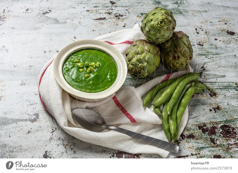 Green vegetable cream soup Food Vegetable Soup Stew Lunch Dinner Vegetarian diet Diet Healthy Eating Delicious Natural Detox healthy fried bread flavor